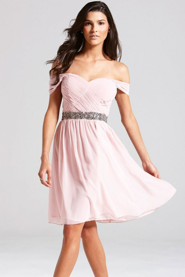 LITTLE MISTRESS ROSE OFF THE SHOULDER EMBELLISHED DRESS - Glitzy Angel