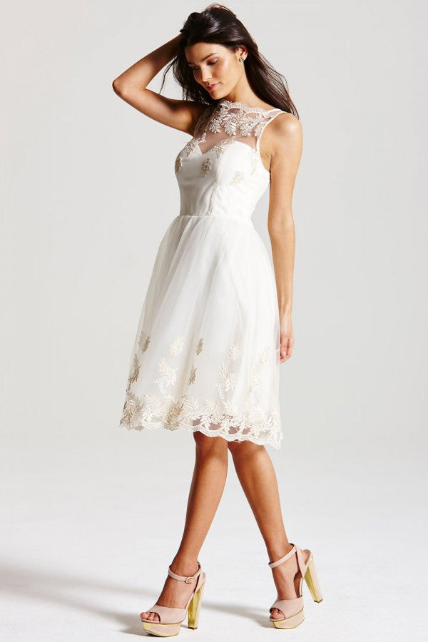 LITTLE MISTRESS CREAM EMBROIDERED PROM DRESS - Glitzy Angel