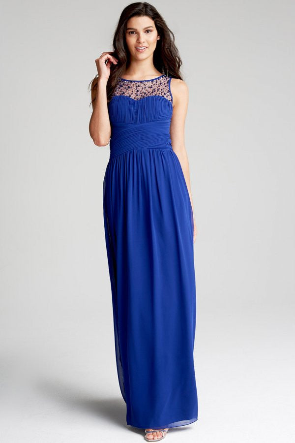 Little Mistress Cobalt Embellished Neck Maxi Dress - Glitzy Angel