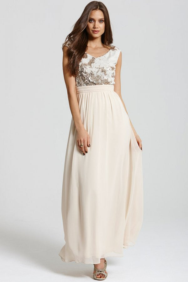 LITTLE MISTRESS HEAVILY EMBELLISHED CREAM AND GOLD MAXI - Glitzy Angel