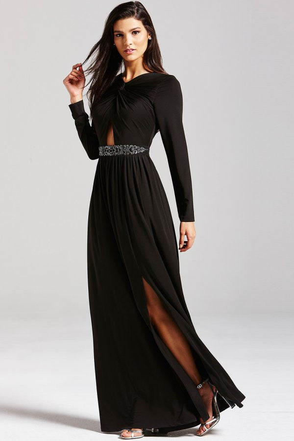 LITTLE MISTRESS BLACK EMBELLISHED CUT OUT MAXI DRESS - Glitzy Angel