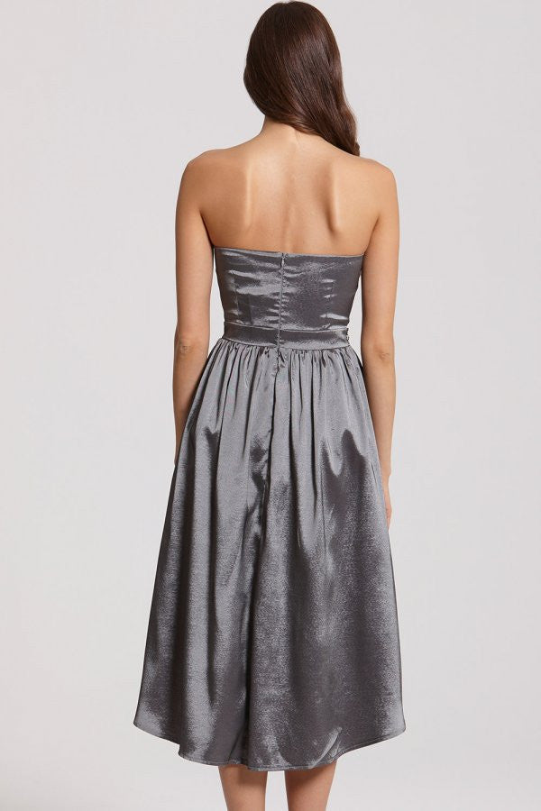 Little Mistress Grey Satin Midi Prom Dress - Glitzy Angel