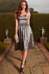 Little Mistress Grey Satin Midi Prom Dress
