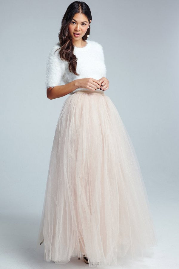 Little Mistress Cream Tulle Maxi Skirt - Glitzy Angel