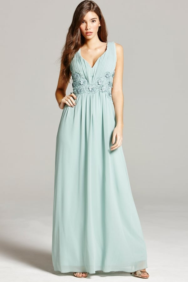 Little Mistress Sage Lace Maxi Dress - Glitzy Angel