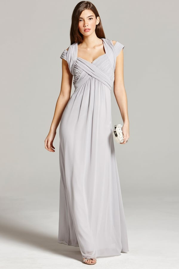 Little Mistress Grey Crossover Empire maxi Dress - Glitzy Angel