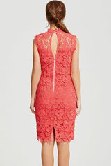 Chloe Lewis Collection Coral Crochet Stand Collar Dress