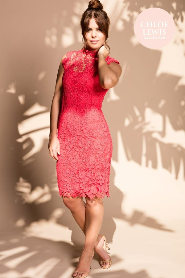 Chloe Lewis Collection Coral Crochet Stand Collar Dress - Glitzy Angel