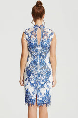 Chloe Lewis Blue & White Crochet Lace Dress