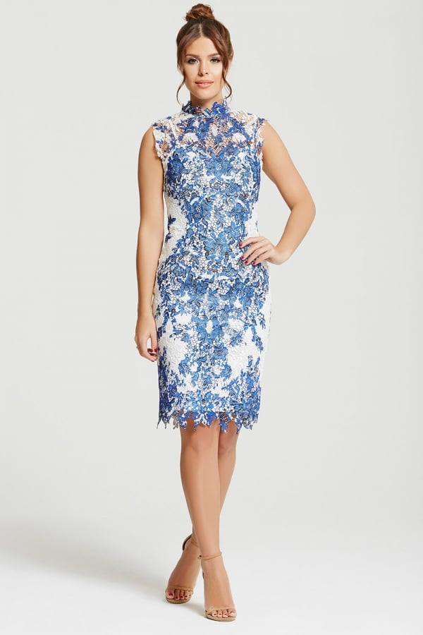 Chloe Lewis Blue & White Crochet Lace Dress - Glitzy Angel