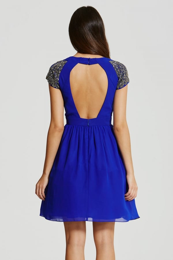 Little Mistress Blue Exposed Back Embellished Prom Dress - Glitzy Angel