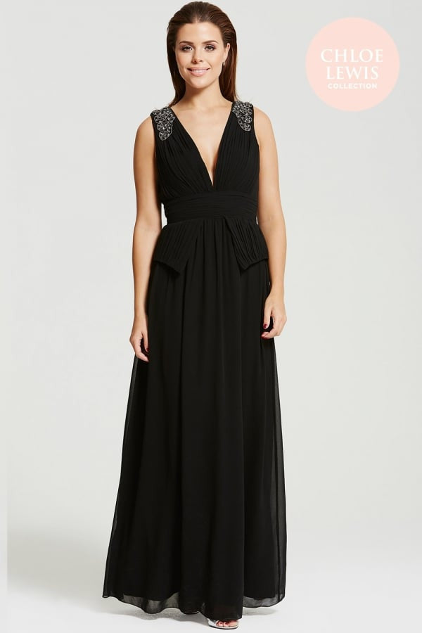 Chloe Lewis Collection Black Plunge Peplum Maxi Dress - Glitzy Angel