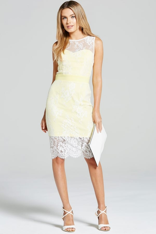 Paper Dolls Lemon & Cream Lace Overlay Dress - Glitzy Angel