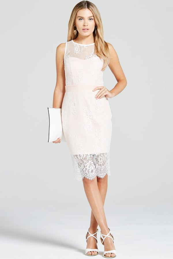 Paper Dolls Blush & Cream Lace Overlay Dress - Glitzy Angel