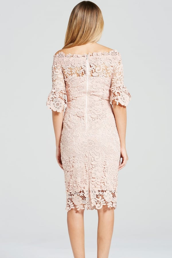 Paper Dolls Blush Crochet Lace Bardot Dress - Glitzy Angel