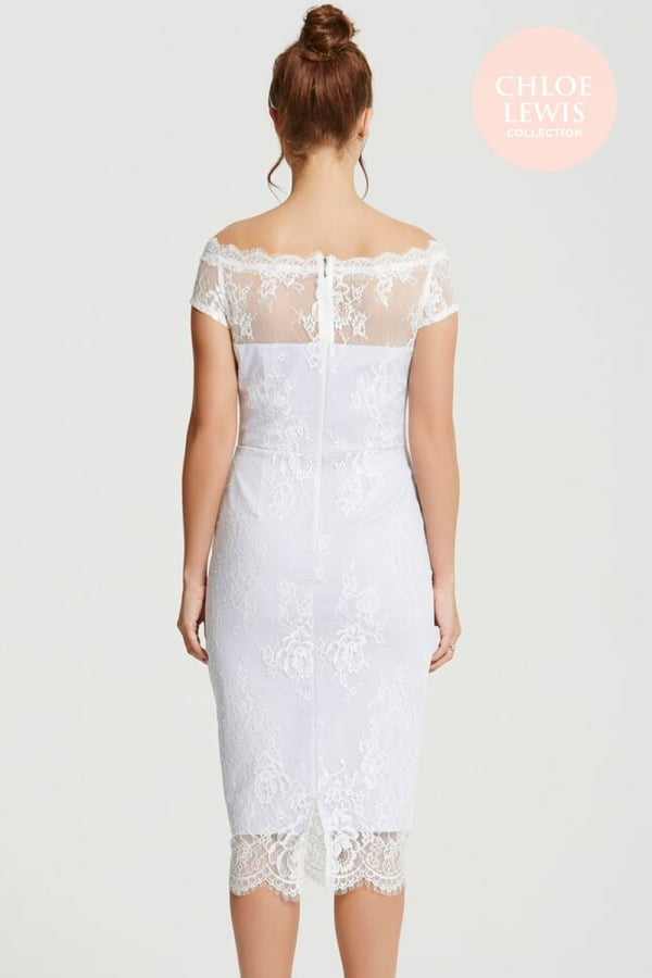 Chloe Lewis Collection Lilac Sheer Lace Overlay Bardot Dress - Glitzy Angel