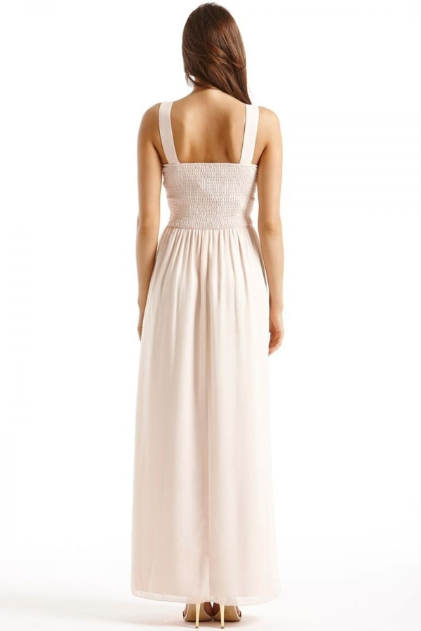 Little Mistress Nude Embellished Detail Maxi Dress - Glitzy Angel