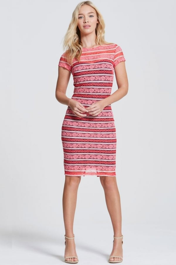 Paper Dolls Pink Stripe Lace Bodycon Dress - Glitzy Angel