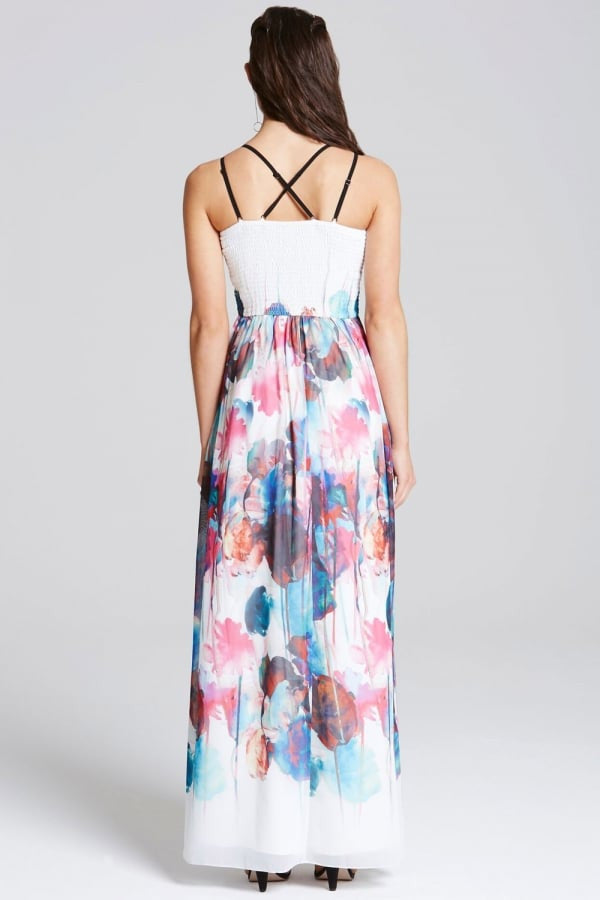 Little Mistress Watercolour Print Cut Out Maxi Dress - Glitzy Angel