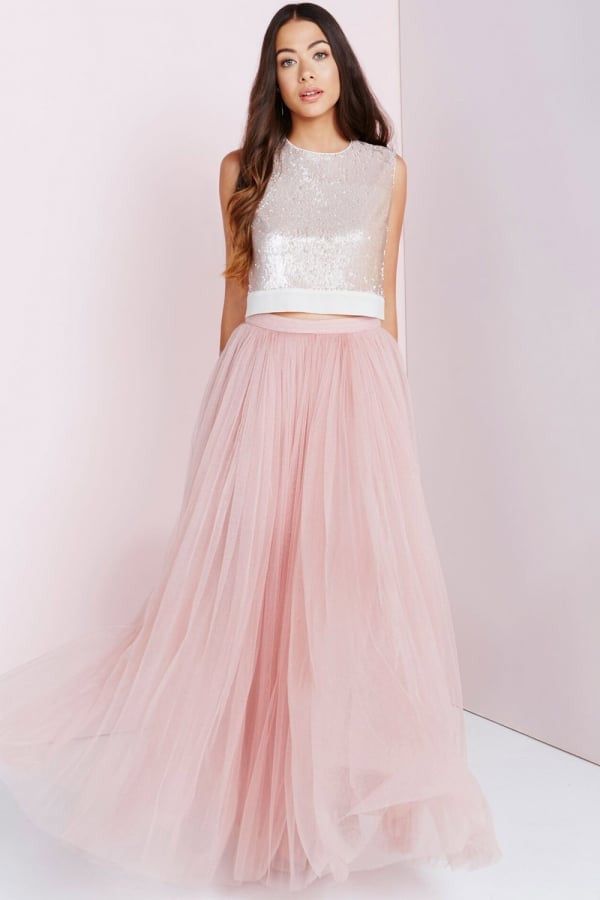 Little Mistress Rose Tulle Maxi Skirt - Glitzy Angel