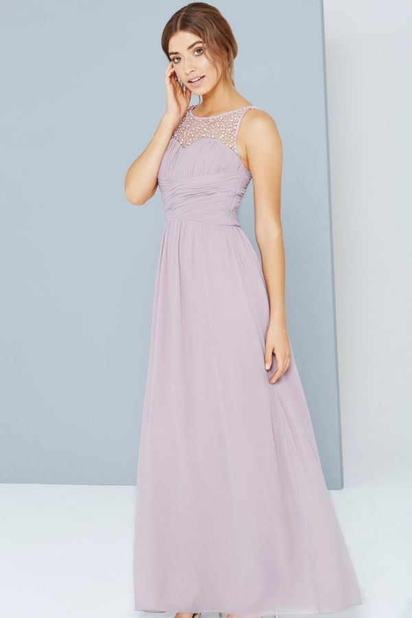 Little Mistress Mink Embellished Neck Maxi Dress - Glitzy Angel
