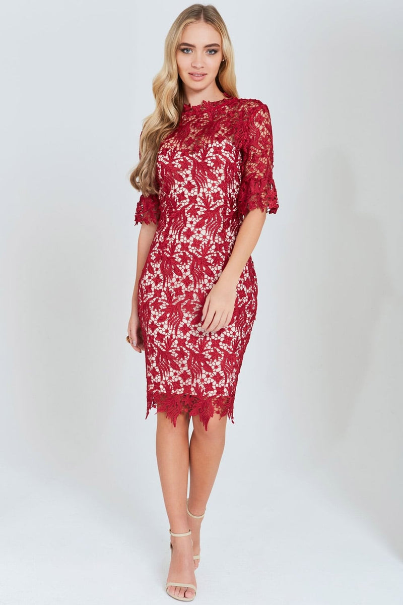 Paper Dolls Berry Lace Dress with Fluted Sleeves - Glitzy Angel