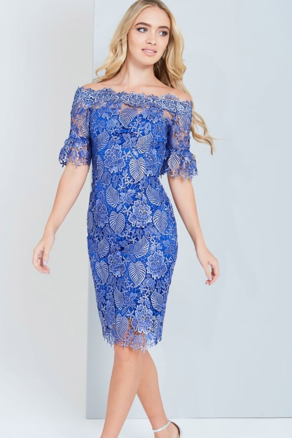 Paper Dolls Metallic Blue Crochet Lace Dress - Glitzy Angel