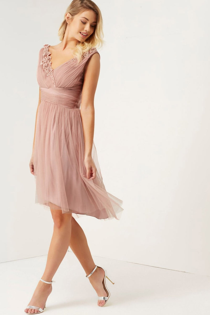 Little Mistress Rose Applique Mesh Prom Dress - Bridesmaids Dresses