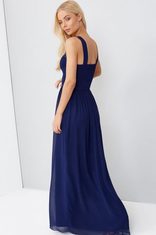 Little Mistress Navy Embellished Maxi Dress