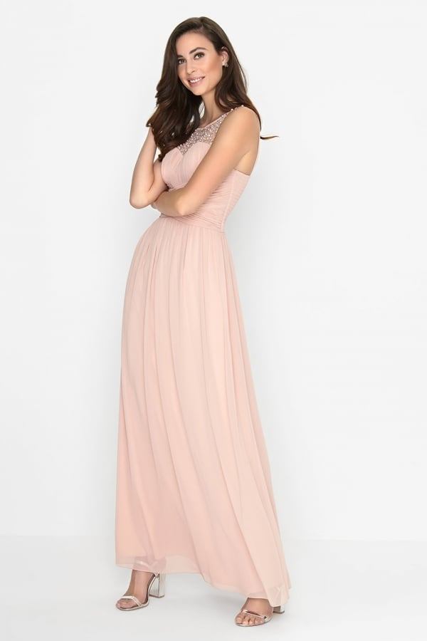 Little Mistress Pink Embellished Maxi Dress
