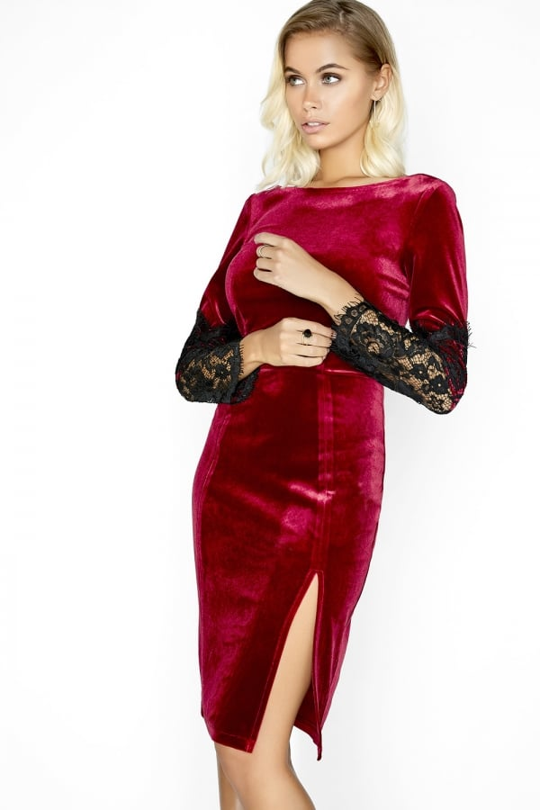 Paper Dolls Wine Velvet Dress
