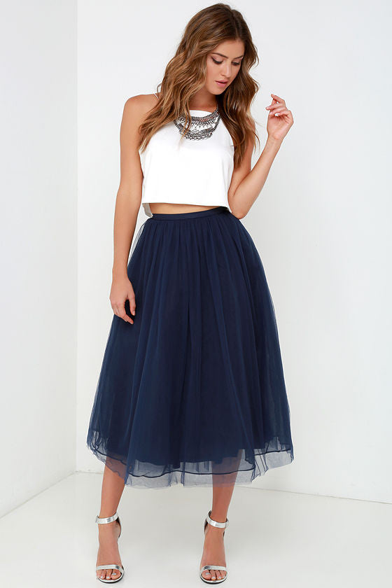Little Mistress Navy Tulle Midi Skirt - Glitzy Angel