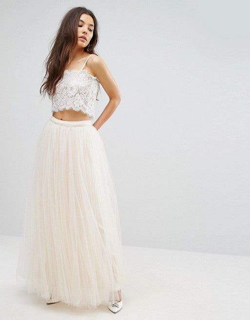 Little Mistress Cream Tulle Maxi Skirt