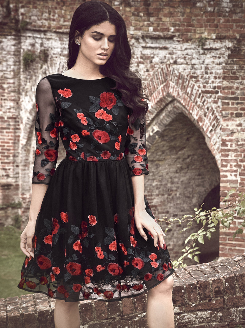 Long Sleeve Prom Dress Floral Embroidery