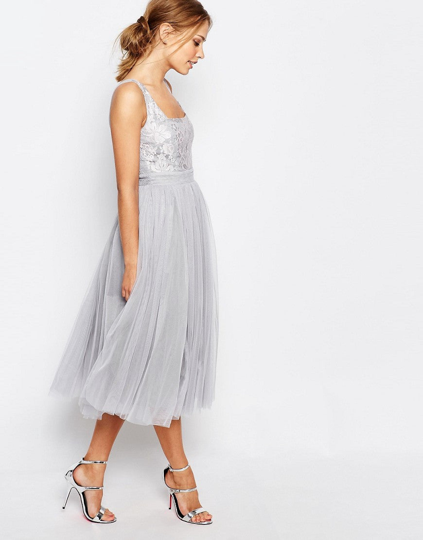 little mistress grey lace  mesh midi dress  wedding