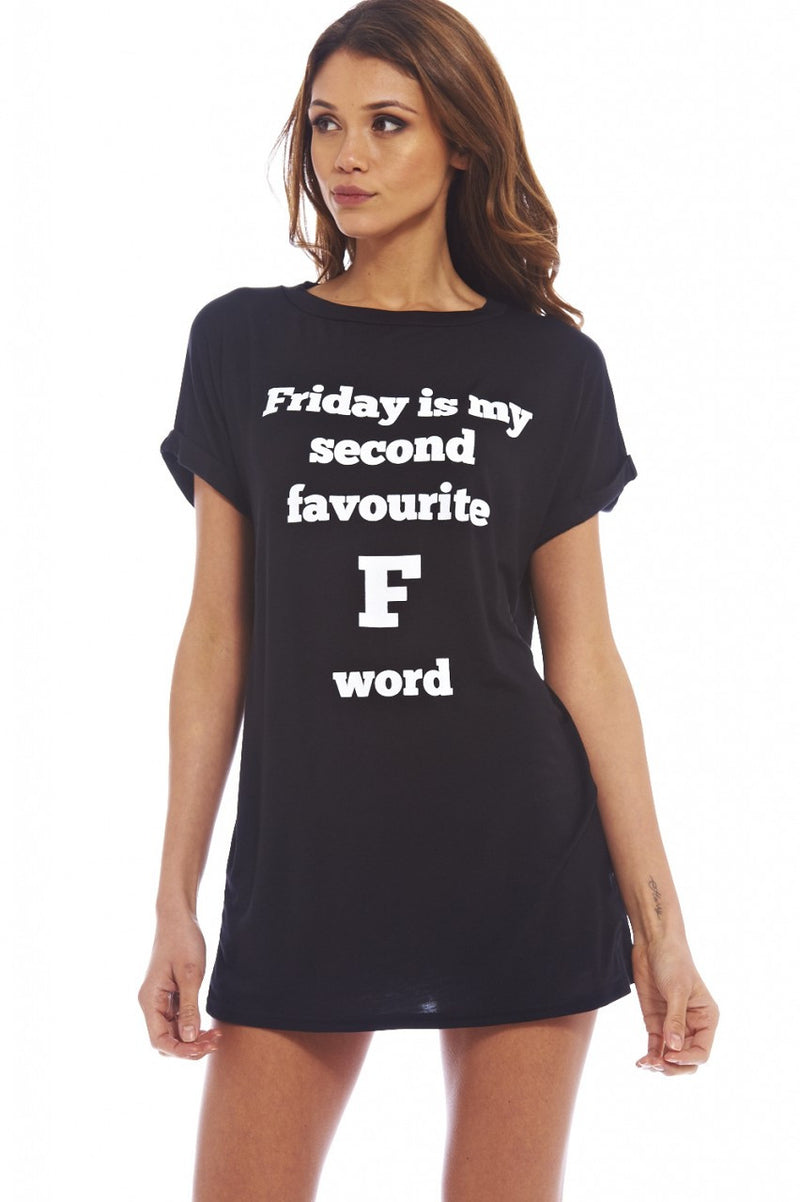 AX Paris F Word Oversized Tee - Glitzy Angel