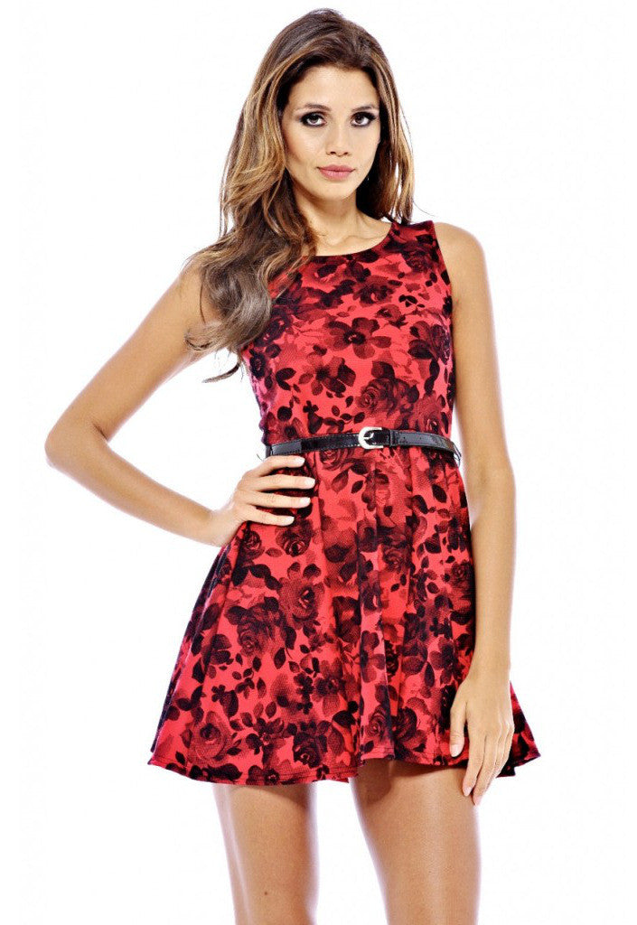 AX Paris Floral Flock Skater Belted Dress - Glitzy Angel
