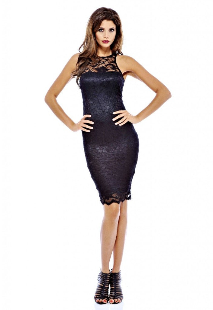 AX Paris Cut In Neck Lace Midi Dress - Party Dresses - Glitzy Angel