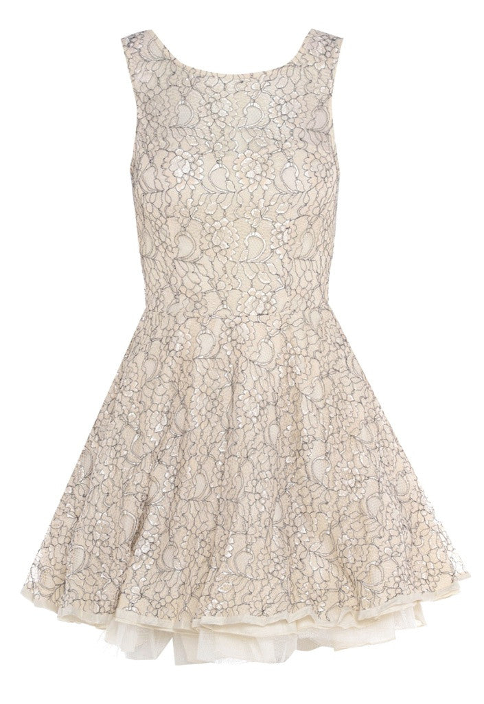 AX Paris Cream & Black Lace Kick Out Dress - Short Dresses - Glitzy Angel