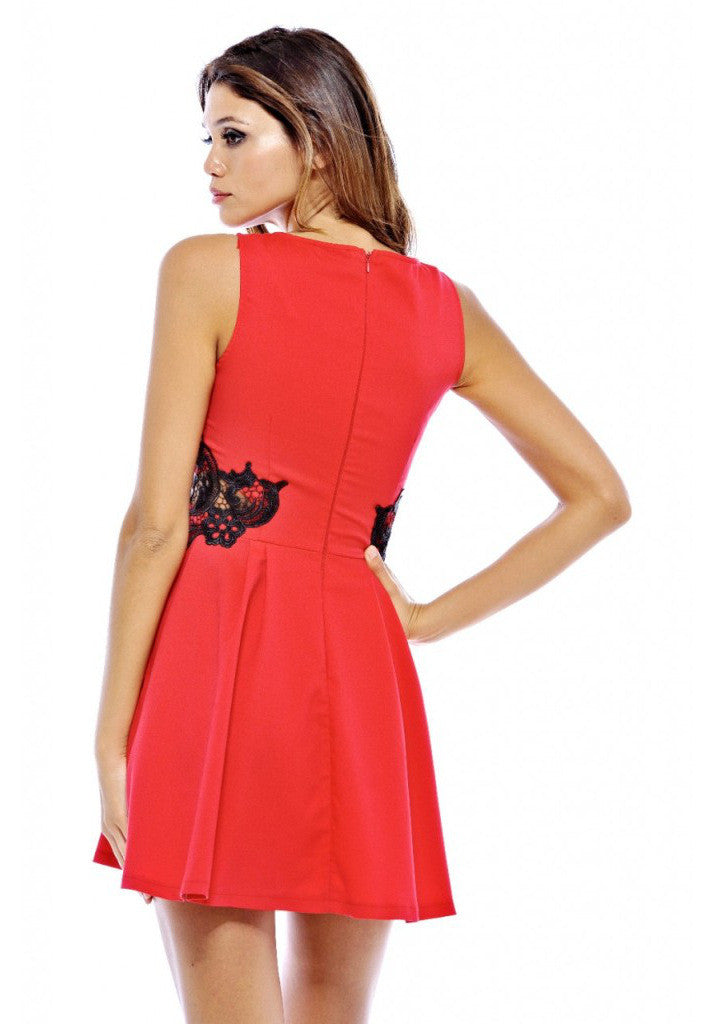 AX Paris Crochet Side Cut Out Skater Dress - Glitzy Angel