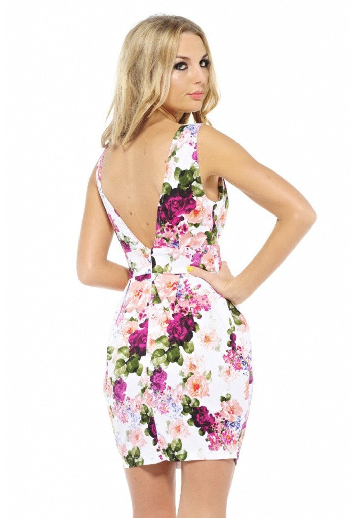 AX Paris Floral Balloon Skirt V Back Dress - Glitzy Angel