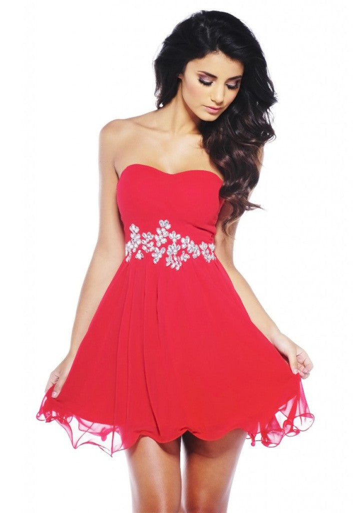 AX Paris Flow Chiffon Jewel Embellished Red Dress - Party Dresses - Glitzy Angel