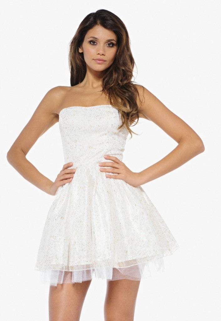 AX Paris Metallic Boobtube Kick Out Dress - Going Out Dresses - Glitzy Angel