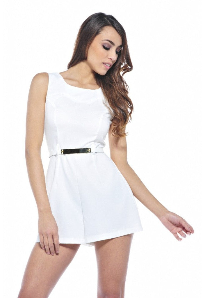 AX Paris Belted Plain Playsuit - Glitzy Angel