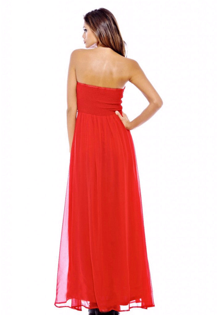 AX Paris Jewel Trim Chiffon Maxi Dress - Red - Glitzy Angel