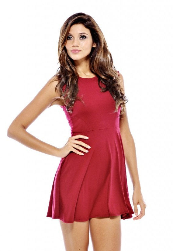 AX Paris Plain Flow Skirt Skater Dress - Short Party Dresses - Glitzy Angel