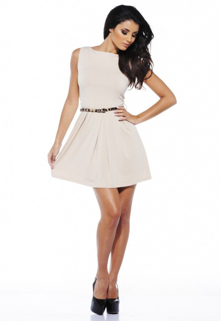 AX Paris Leopard Print Belt Skater Dress - Glitzy Angel