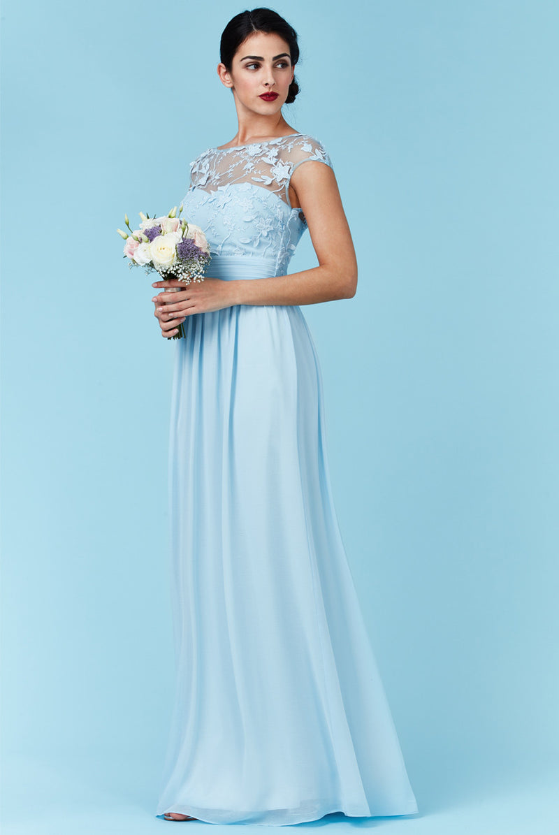 Goddiva Blue Chiffon Flower Detail Bridesmaid Dress