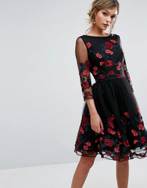 Chi Chi Aymie dress - Long Sleeve Prom Dress Floral Embroidery