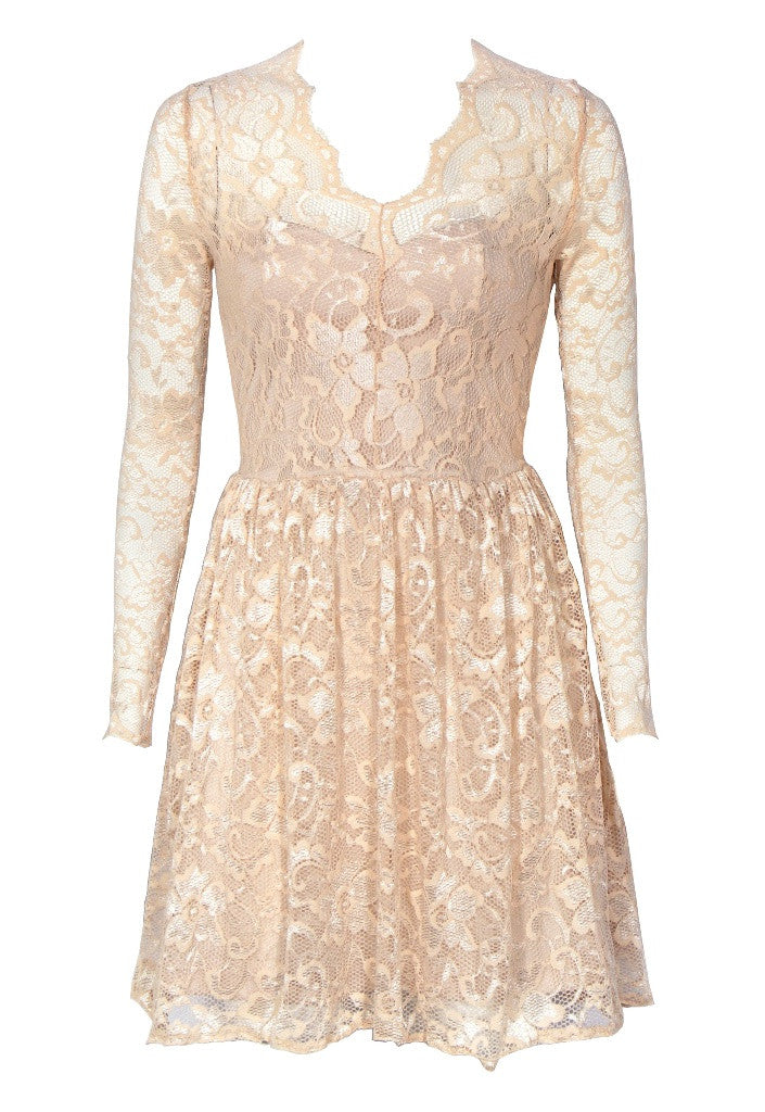 Champagne Long Fitted Sleeve Lace Dress - Glitzy Angel